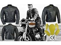 Santher Posti Royal New Beckham Black Leather Motorbike Jacket CE Approved Armours