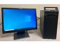 Lenovo Small Tower Form Computer Desktop PC & Lenovo 19 LCD widescreen