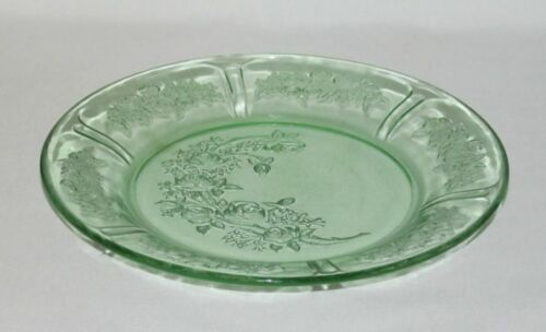 """Federal Glass Co. SHARON """"Cabbage Rose"""" Green Salad Plate"""