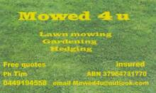 Mowed 4 u Lawns Gardening Hedging Blue Haven Wyong Area Preview