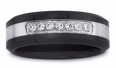 Mens black Tungsten Carbide 0.28Ct Diamond wedding band Ring 8mm 2 year (Tungsten Carbide Mens Wedding Bands With Diamonds)
