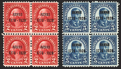 #647-648 2c & 5c 1928 Hawaii Blocks of 4 MLH