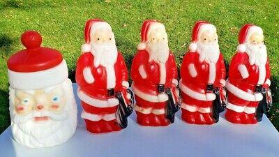 "Lot Set of 5! Vintage Empire Santa Christmas Blow Molds 13"" Gift Bag Cookie Jar"