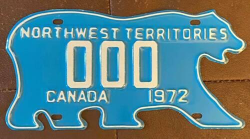 Northwest Territories 1972 POLAR BEAR SAMPLE License Plate SUPERB QUALITY # 000