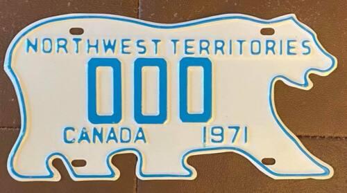 Northwest Territories 1971 POLAR BEAR SAMPLE License Plate SUPERB QUALITY # 000