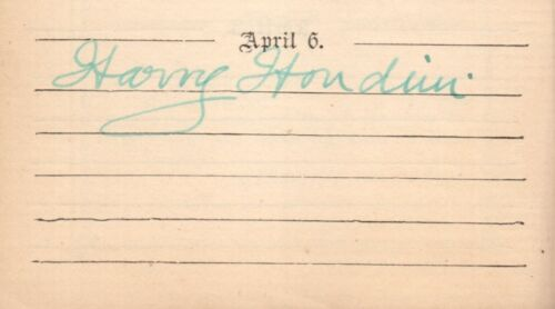 Autograph Album Signed By Harry Houdini - W/ Shakespeare Quote Marked By Houdini