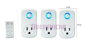 3 Pack- Wireless Remote Control AC Power Outlet Plug Light Socket Compact Switch