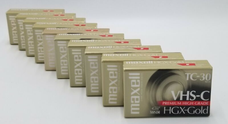 10 - Maxell VHS-C HGX-Gold TC-30 Blank Camcorder Video Cassette Tape New Sealed