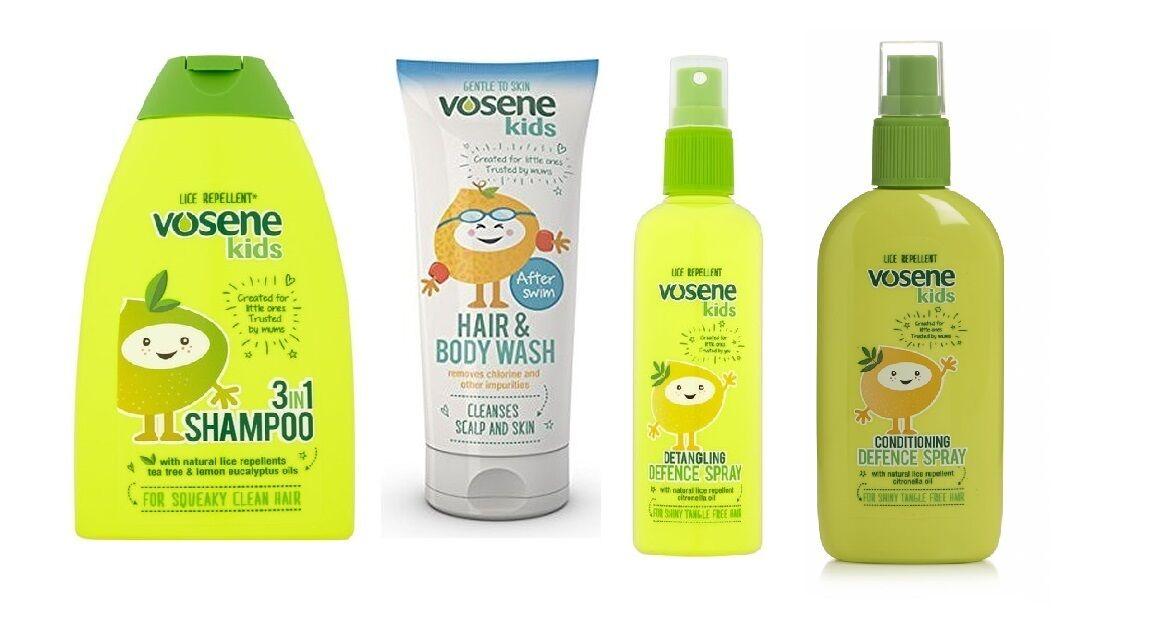 Vosene Kinder 3 in 1 Pflegende Shampoo Kopfläuse Schutzmittel Haar Kämmhilfe