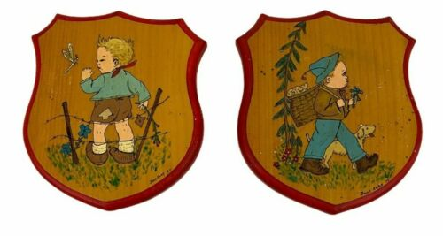 Vintage MCM Hand Painted Boys with Dog Dragonfly Wood Wall hangings