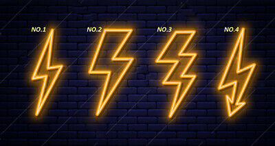 2x Custom Neon Light Signs Lightning Yellow Flash Light Cheap Bar Open Art Wall