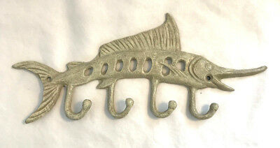 Hand Painted Cast Iron Fish Wall Hook Marlin Mutli Towel Key Hooks Beach Decor