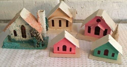 7 Vintage PUTZ houses villages Japan Taiwan Christmas Mica