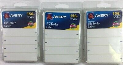 3 Packs Avery Permanent File Folder Labels 2.75 X 0.625 Inches White 156 Ea