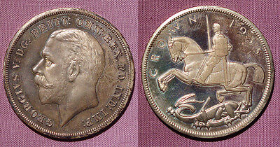 1935 KING GEORGE V RAISED EDGE PROOF SILVER CROWN - Nice Example & Scarce