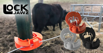 Lockjawz - Orange - T-360 Electric Fence Insulators. Line Corner Post 100 Pk