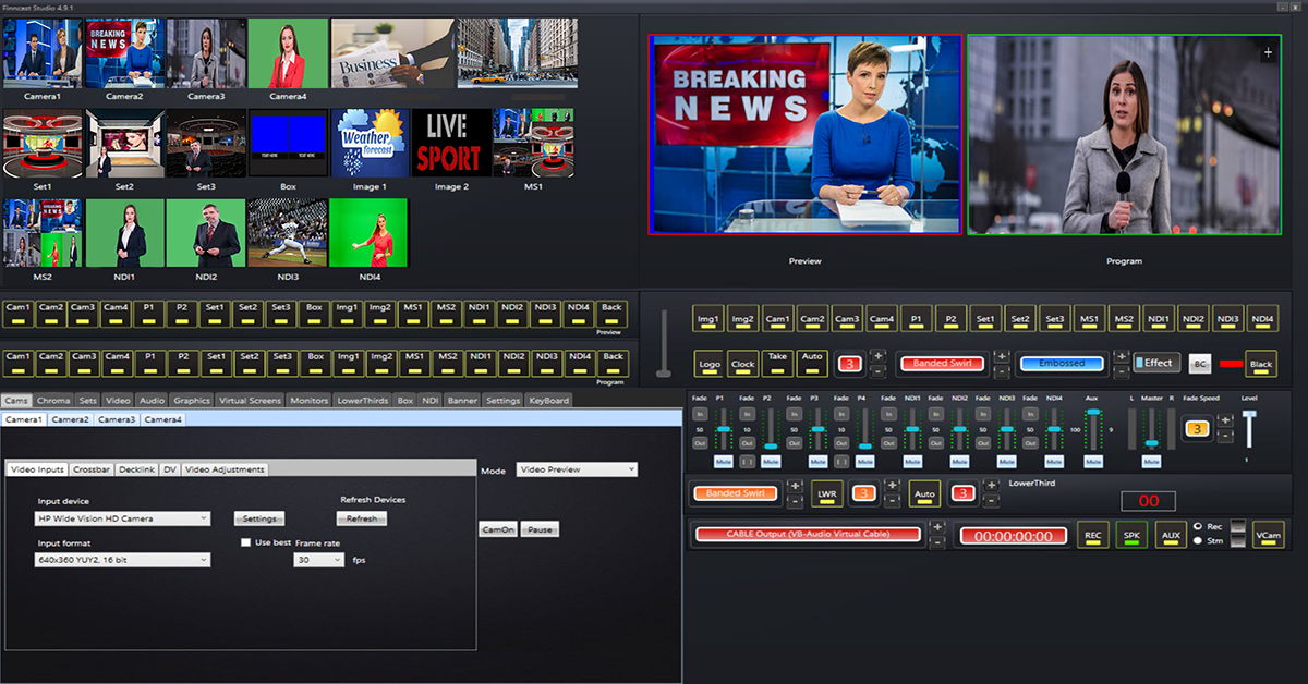 Video Live Streaming Software with Video switcher mixer gree