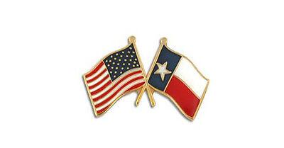 USA Flag American Flag Texas Flag Crossed Flags Lapel Hat Pin USA SHIPPER