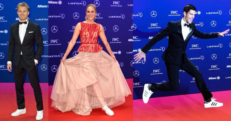 Auf dem Roten Teppich präsentieren Stars wie Nico Rosberg, Kathi Wörndl und Novak Djokovic stolz ihre Sneaker. (© imago)