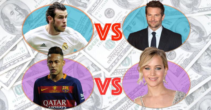 Das Dollar-Duell: Fußballspieler vs. Filmstar. (© Imago / Montage: The Digitale)