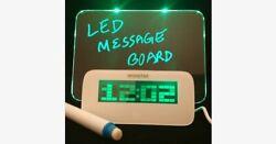 LED Fluorescent Message Board Digital Alarm Clock with 4 Port USB Hub