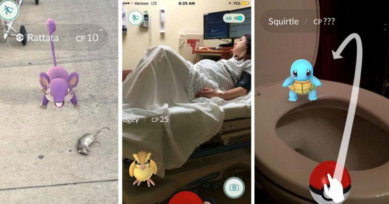 Sie lauern überall: die Taschenmonster von Pokémon Go. (© @darkbluecat / Bringther1ot / @Brand_Onlee)