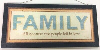 Family All Because Two People Fell in Love Wooden Wall wreath Art Sign (All Because Two People Fell In Love Sign)