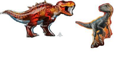 SET of 2 HUGE Jurassic World DINOSAUR Balloons T-REX & RAPTOR FREE SHIP (Dinosaur Balloons)