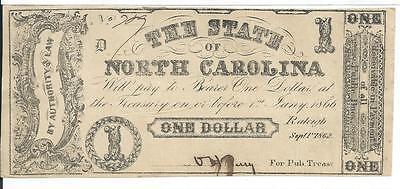 $1 1862 North Carolina Cr88A Grey-Black #709 Rarity 7 No Printer Name State