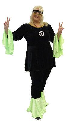 Deluxe Hippy 1960'S 1970'S JAHRE ,Boho,Schwarz/Grün Komplettes Outfit - Alle Grünen Kostüm