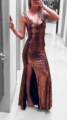 Sexy Brillante Lentejuelas Largo Alto con Abertura Vestido Formal Cobre SZ S