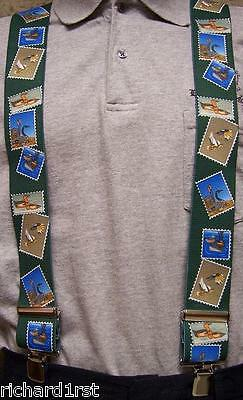 "Suspenders 2""x48"" FULLY Elastic Duck Hunting Stamps NEW Gree"