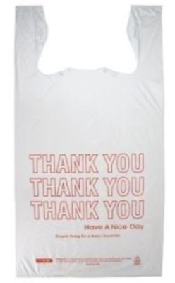 10x 6x20 Plastic T-shirt Thank You Shopping Grocery Bags 1000cs Hdpe