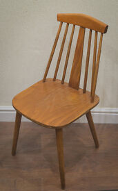 Vintage retro mid century modern Ercol style dining chairs (pair)