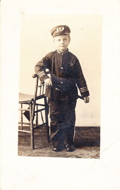 WW1 ERA PHOTO of a YOUNG BOY in POLICE OFFICER UNIFORM