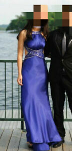Prom / Cocktail / Party Dress, Blue Satin, Open Back