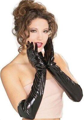 Paar Handschuhe Lang Lackiert Vinyl PVC Sexy Dessous Schwarz Billig für Frauen ()