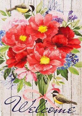 Spring Bouquet Window Windows (WELCOME BOUQUET CHICKADEE BIRD FLOWER SPRING FLORAL MINI WINDOW GARDEN YARD)