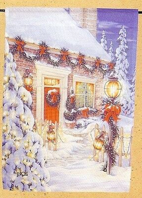 """12.5""""x18"""" DECK THE HALLS Country Christmas Snow Scene SMALL HOLIDAY BANNER FLAG"""