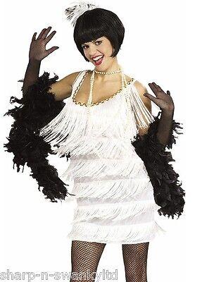 Damen 1920er Jahre Weiß Flapper Charleston Gatsby Kostüm Kleid Outfit UK 8-18 (1920er Jahren Flapper Kostüme Uk)
