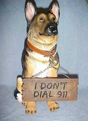 "14"" GERMAN SHEPHERD Sitting Statue Figurine Dog Animals Decor 'I Don't Dial 911'"