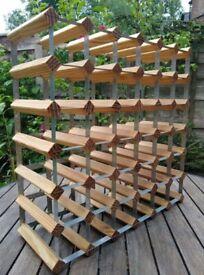 Vintage Wood & Metal Wine Rack * Holds up to 36 Bottles