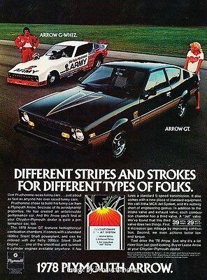 1978 Plymouth Arrow GT and Race Original Advertisement Print Art Car Ad J645 ()