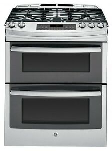 """GE PCGS950SEFSS 30"""" Self-Clean Gas Convection Double Oven Range"""