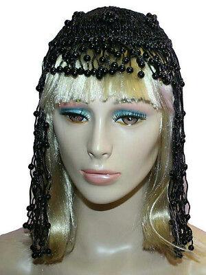 Black Cleopatra Beaded Headpiece Costume Accessory - Cleopatra Head Piece