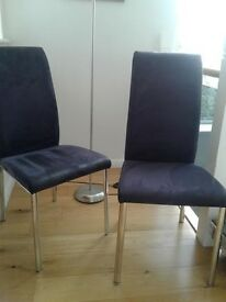 Dining chair, beautiful blue chairs with stainless steel legs