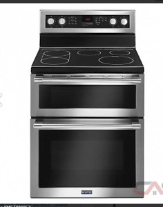 Maytag double oven with glass cook top