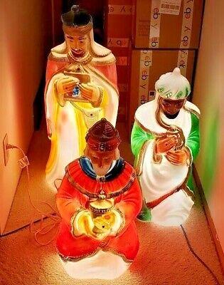 Set of 3 Vintage Wise men General Foam Plastics Nativity Christmas Blow Molds