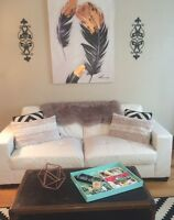 White Leather Couch and Love Seat