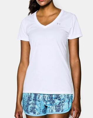 Solid Tech T-shirt (Under Armour Womens UA Tech Solid V Neck T Shirt Gym Fitness Run Tee Medium T232)